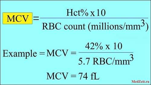 Формула расчета MCV